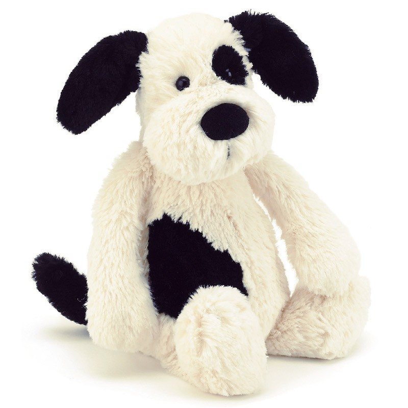 jellycat bashful black and cream puppy jellycat soft toys at bonkers uk